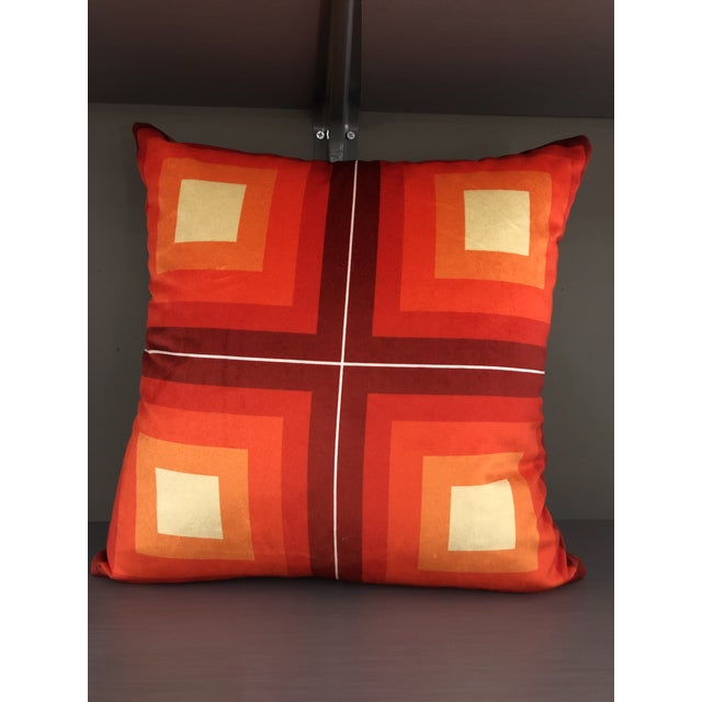 Contemporary Handmade Orange Velvet Geometric Pillow For Sale In New York - Image 6 of 8