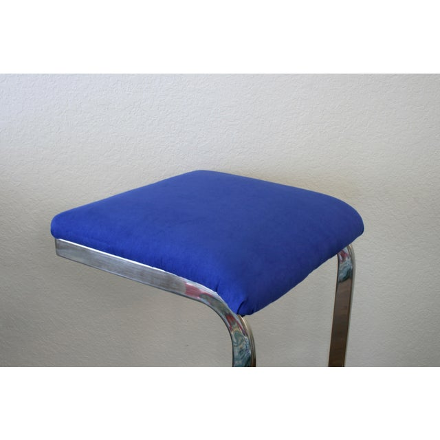 Blue Faux Suede and Silver Cantilever Barstools - A Pair For Sale In Seattle - Image 6 of 7