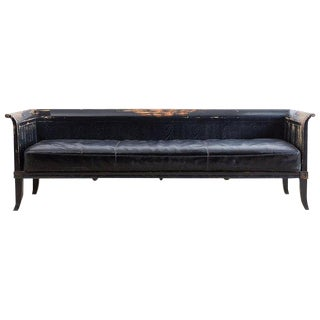 Distressed Neoclassical Gustavian Style Sofa Bench For Sale