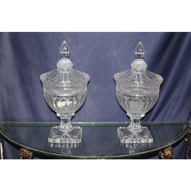 Nice pair of Irish candy dishes. They have a nice glitz to them.