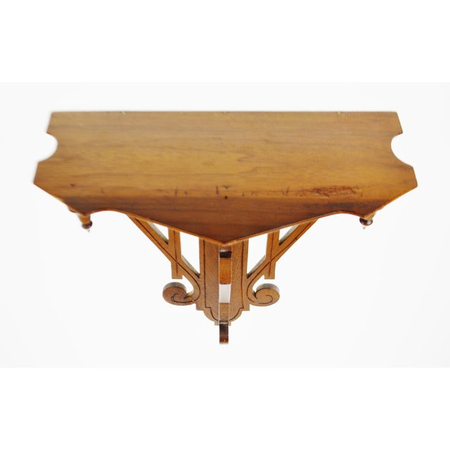 Vintage Scrolled Mahogany Wall Shelf - Image 7 of 11