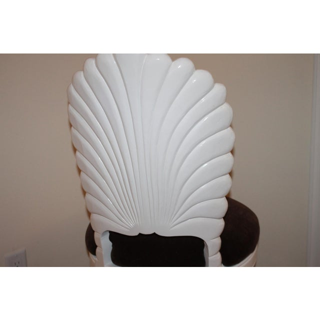 1970s Vintage Shell Back Grotto Chair, Freshly and Professionally Lacquered For Sale - Image 5 of 9