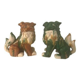 Brown and Green Glazed Foo Dog Figurines - a Pair For Sale