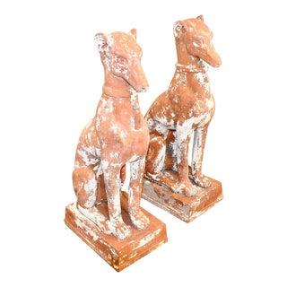 Mid-Century Terracotta Dog Garden Statues - a Pair For Sale