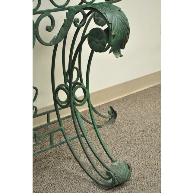 "65"" W Ornate Italian Regency Style Green Wrought Iron Marble Top Console Table - Image 6 of 11"