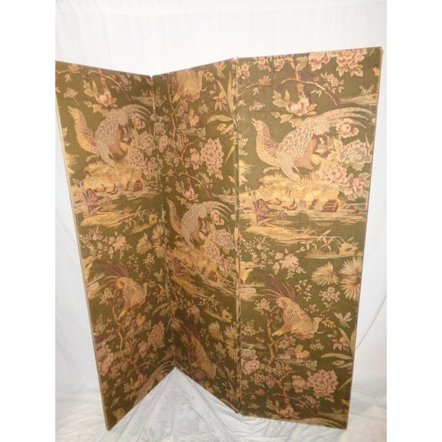 Vintage Olive Green Pheasant Fabric Room Screen - Image 4 of 4