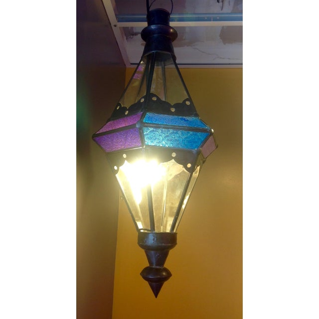 Boho Chic Stained Glass Pendant Lamps - Set of 3 - Image 5 of 6
