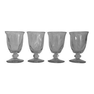 Vintage Clear Panel Bar Glasses / Juice Glasses S/4 For Sale