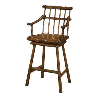 Country Oak Armchair Bar Stool For Sale