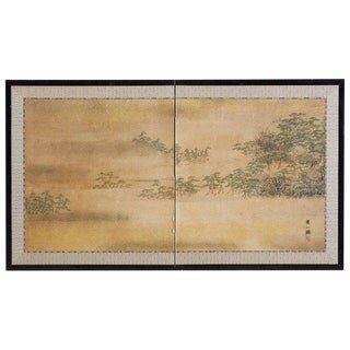 Japanese Meiji Period Two-Panel Landscape Screen For Sale