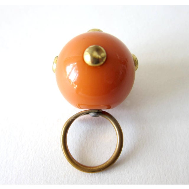 Mid-Century Modern 60s Kennth Jay Lane Studded Go Go Ball Ring For Sale - Image 3 of 3