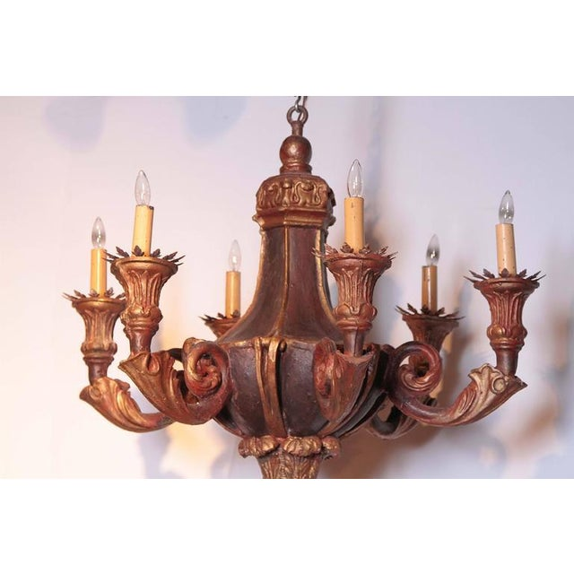 Neoclassical Decorative 20th Century Italian Painted Six-Light Chandelier For Sale - Image 3 of 10