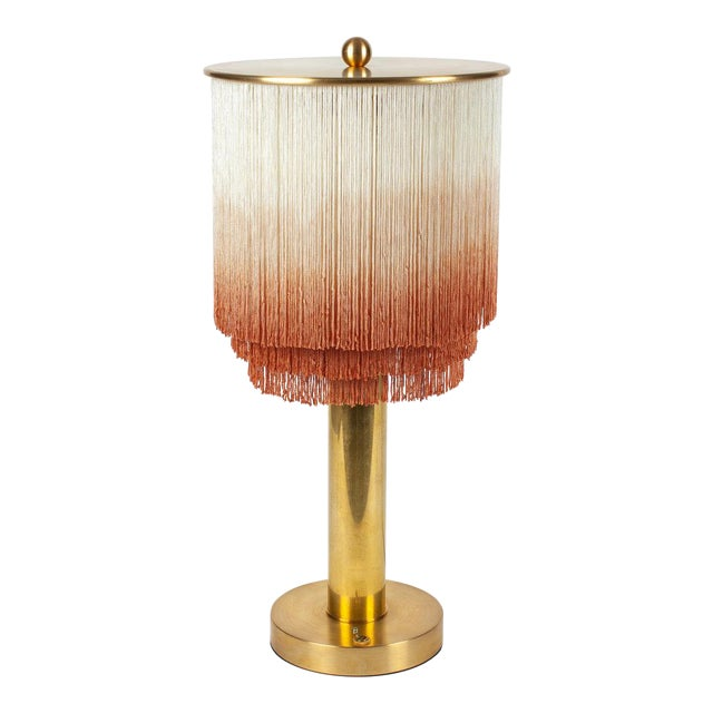 Modern Large Fringe Table Lamp in Cream/Dusty Rose For Sale