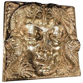 Lalique Nickel Masque De Femme Face Wall Plaque Sculpture For Sale