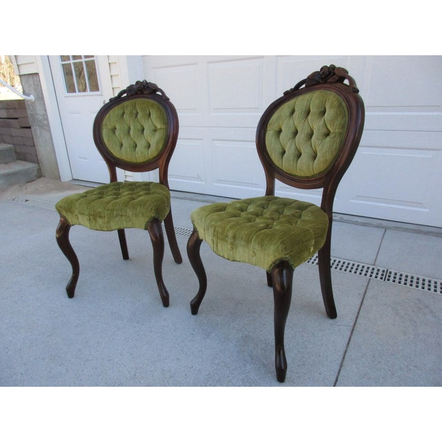 Kimball Furniture reproduced a line of Victorian style seating in the  latter half of the 1970's - Kimball Furniture Victorian Style Tufted Parlor Chairs - A Pair