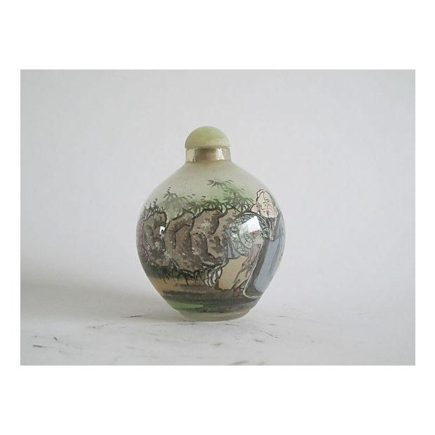Handpainted Chinese Glass Perfume Bottle - Image 2 of 4