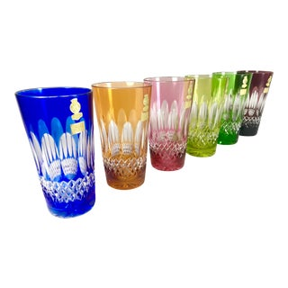 Vintage Nachtman Bohemian Cut to Clear Crystal Tumblers, Assorted Colors - Set of 6 For Sale