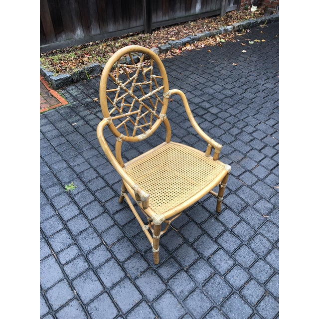 Vintage McGuire Palm Cushion Cracked Ice Rattan Chair - Image 8 of 11