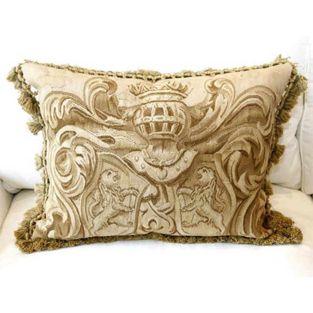 Pair of Aubusson Weave Pillow with Amorial & Lions.