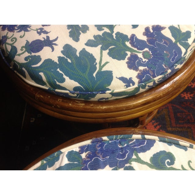 Vintage Bamboo Ottomans - A Pair - Image 6 of 7