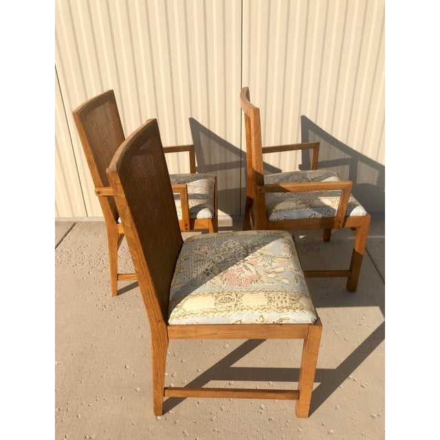 Boho Chic Michael Taylor for Baker Style Cane Back Dining Chairs - Set of 3 For Sale - Image 3 of 13