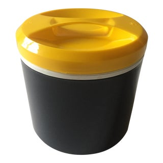 Vintage Mid Century Modern Italian Navy Blue & Lemon Yellow Plastic Ice Bucket For Sale