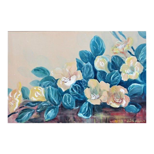 Vintage Hawaiian Flower Painting by J Llaine Colquhoun For Sale