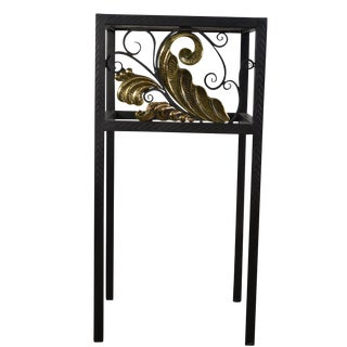 Art Noveau Handmade Forged Iron and Cast Brass , Rosewood Top Table