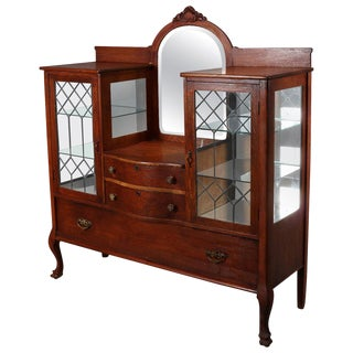 Antique Carved Oak Mirrored China Buffet, Circa 1910 For Sale