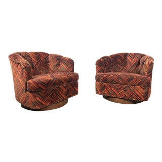 1970s Mid-Century Modenr Milo Baughman Burnt Orange Velvet Swivel Lounge Chairs - a Pair
