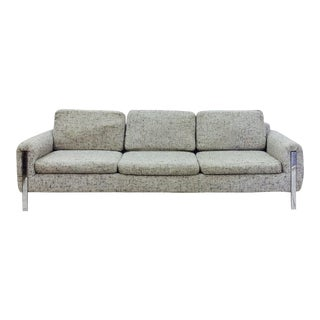 Vintage Mid Century Modern Chrome & Tweed Sofa