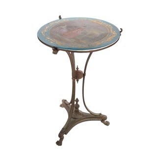 19th C. French Painted Porcelain Sevres Style Side Table For Sale