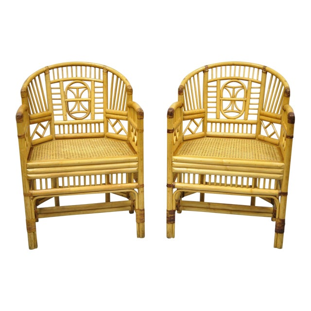Vintage Brighton Pavilion Style Bamboo & Cane Rattan Arm Chairs - A Pair For Sale