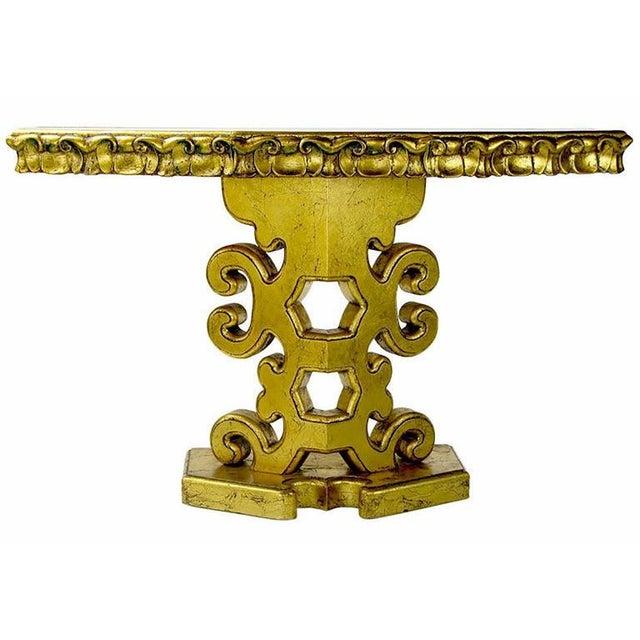 Giltwood Italian Gilt Console Table with Églomisé Glass Top For Sale - Image 7 of 8