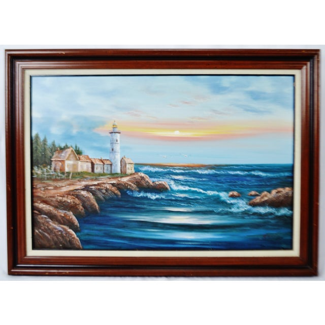 Blue Vintage Framed Nautical Lighthouse Seascape Oil on Canvas - Artist Signed For Sale - Image 8 of 12