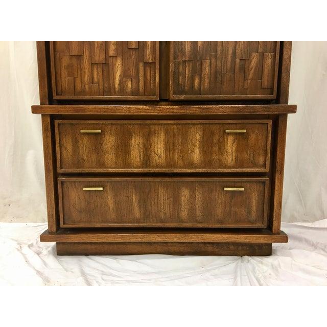 Vintage Mid-Century Brutalist Armoire Dresser - Image 7 of 8