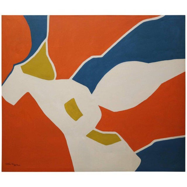 Blue Large-Scale Hard Edge Painting by Antonia Davis For Sale - Image 8 of 9