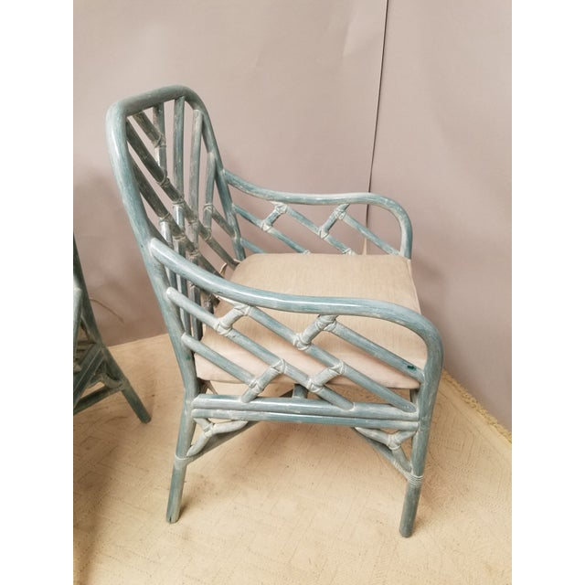 Asian Pale Aqua Chinese Chippendale Rattan Armchairs - a Pair For Sale - Image 3 of 5