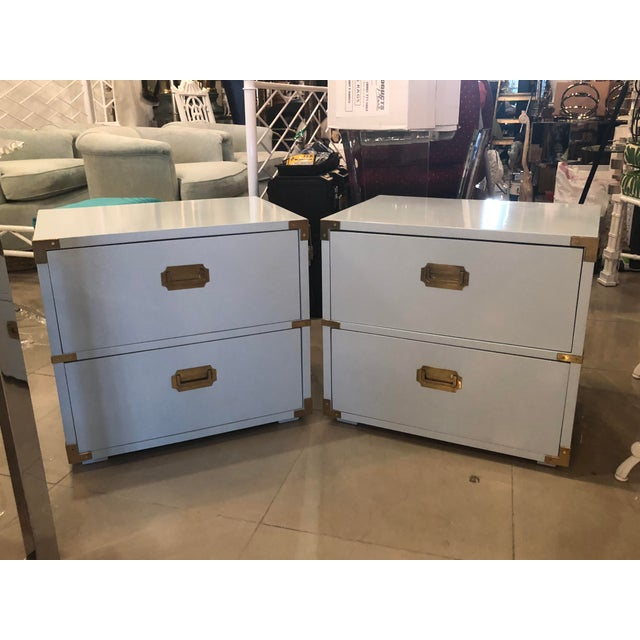 Vintage Lane Furniture Newly Lacquered Powder Blue Brass Campaigner Nightstands Chests -A Pair For Sale - Image 13 of 13