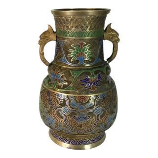 Art Nouveau Champleve Brass Vase For Sale