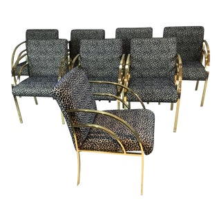 1970s Vintage Flat Arm Brass Chairs- Set of 8 For Sale