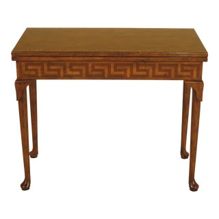 Baker Stately Homes Walnut Game Table For Sale