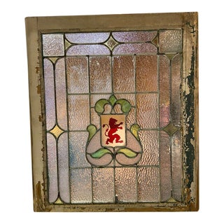 Antique Stained Glass Lion Window For Sale