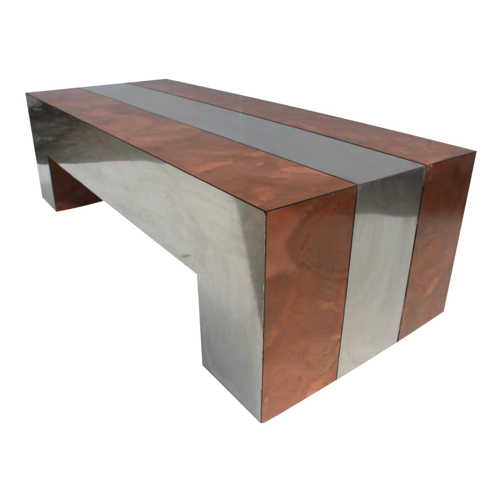 Copper Top Rectangular Coffee Table: Paul Evans Style Chrome & Copper Rectangular Coffee Table