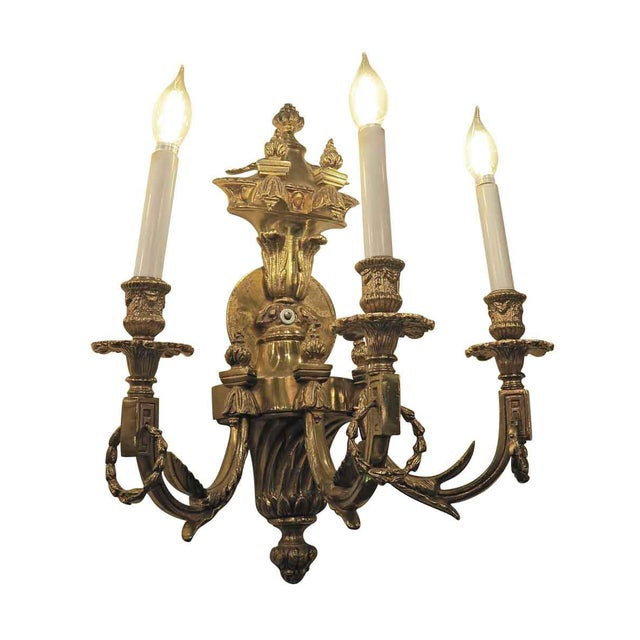 Traditional Vintage Waldorf Astoria Heavy Bronze Sconce For Sale - Image 3 of 10