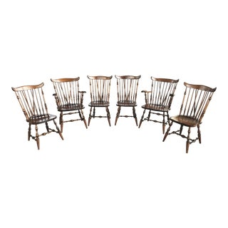 Walnut Windsor Dining Chairs Set For Sale
