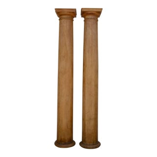 1930s Elegant Tall Fluted Decorative Pine Columns - a Pair For Sale