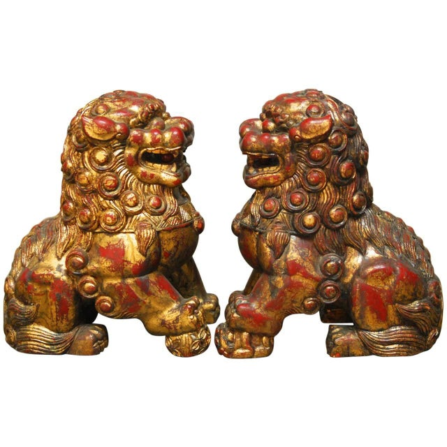 Large Chinese Gilt Temple Foo Dogs - Pair For Sale