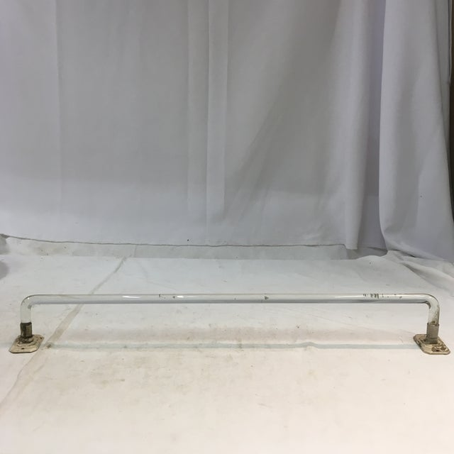 This is a timeless vintage lucite towel bar with a pair of matching mid-century chrome-plated towel bar holders. The...