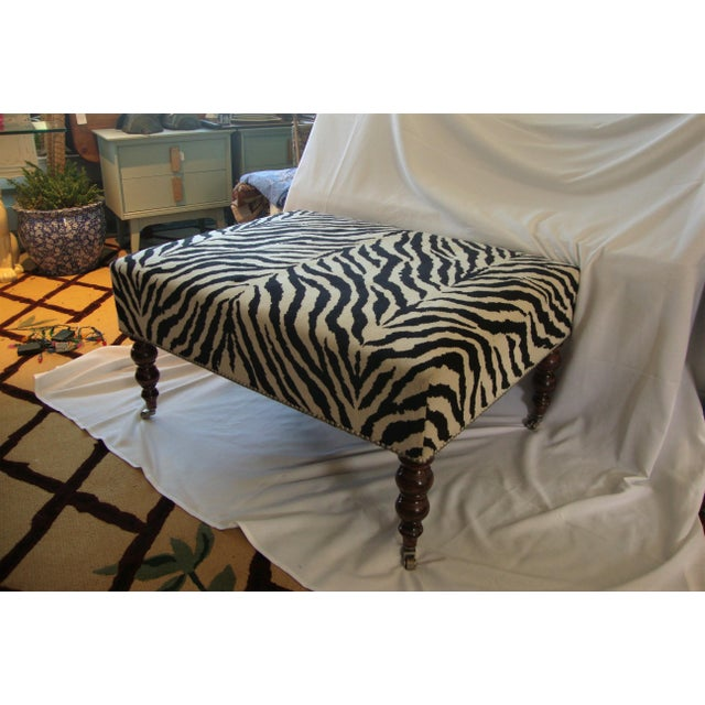 Louis XVI Ralph Lauren Style Zebra Ottoman For Sale - Image 3 of 6